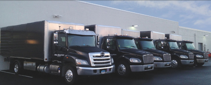 Vehicle delivery truck line up