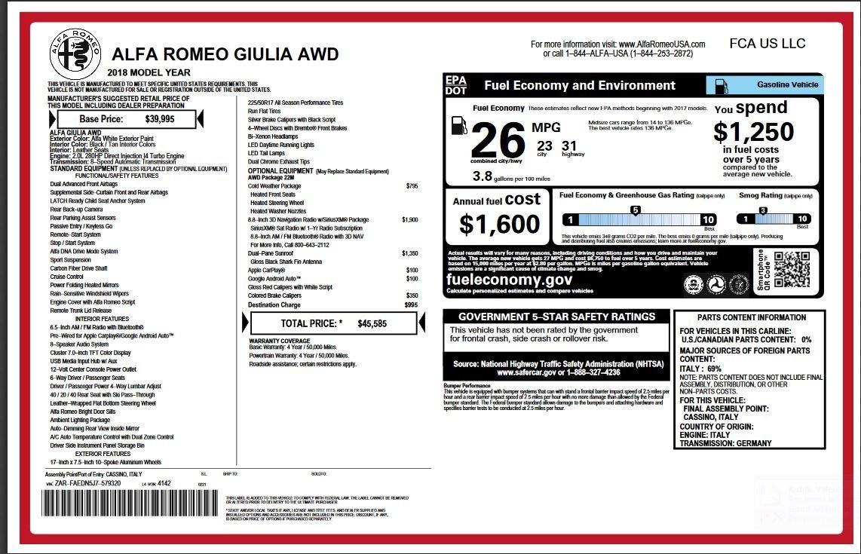 New 2018 Alfa Romeo Giulia  | Greenwich, CT