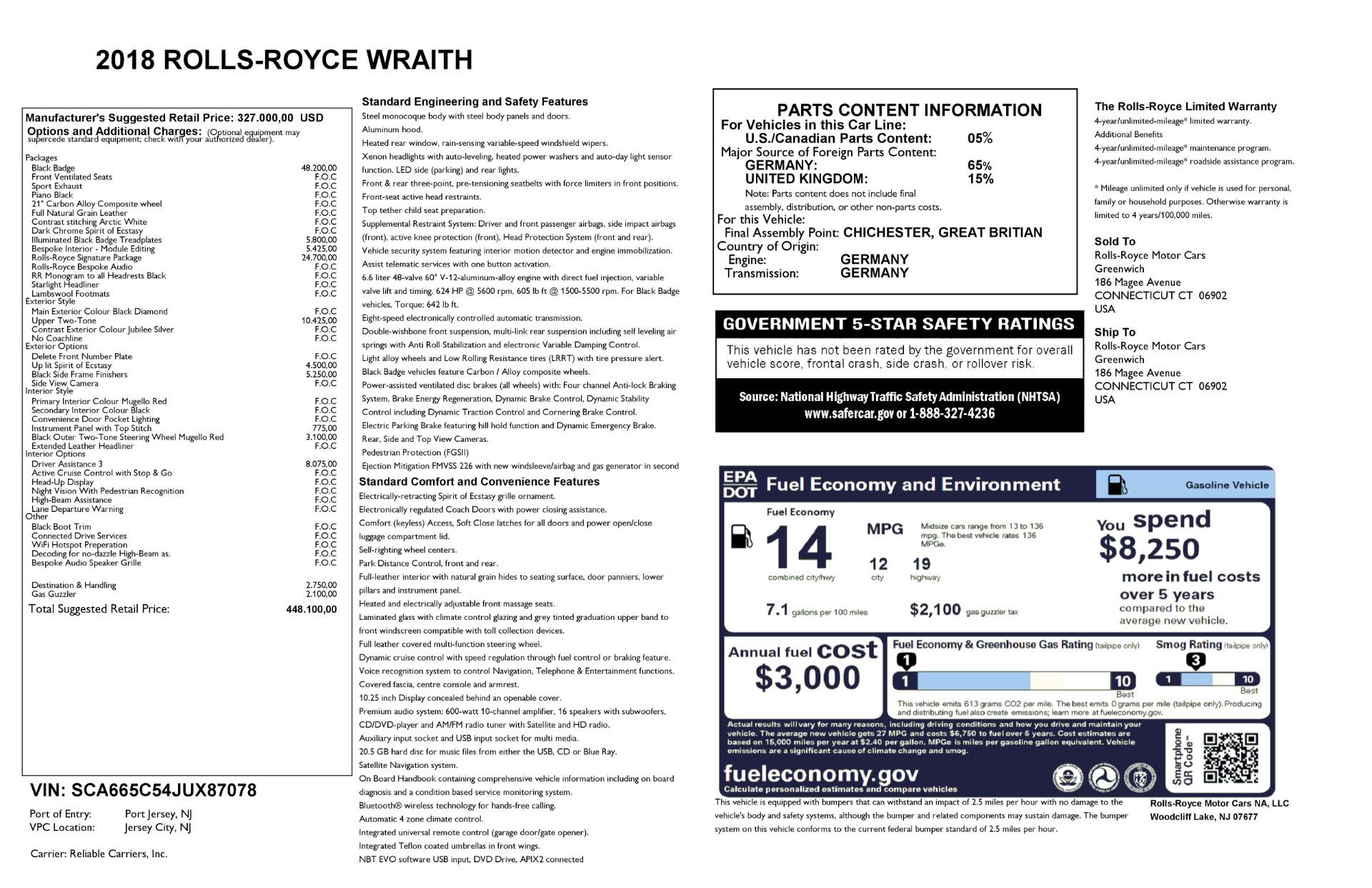New 2018 Rolls-Royce Wraith Black Badge | Greenwich, CT
