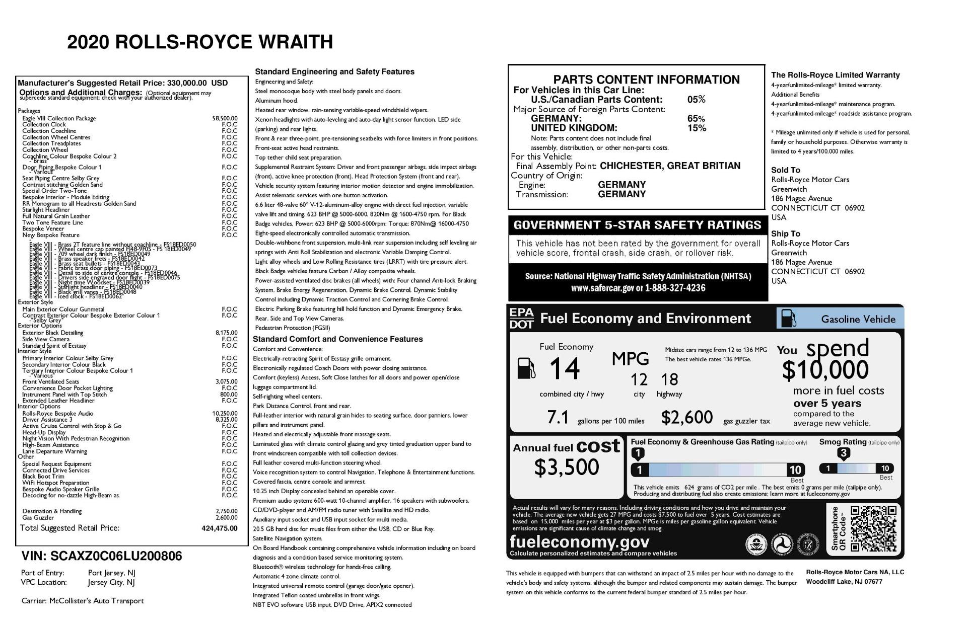 New 2020 Rolls-Royce Wraith Eagle | Greenwich, CT