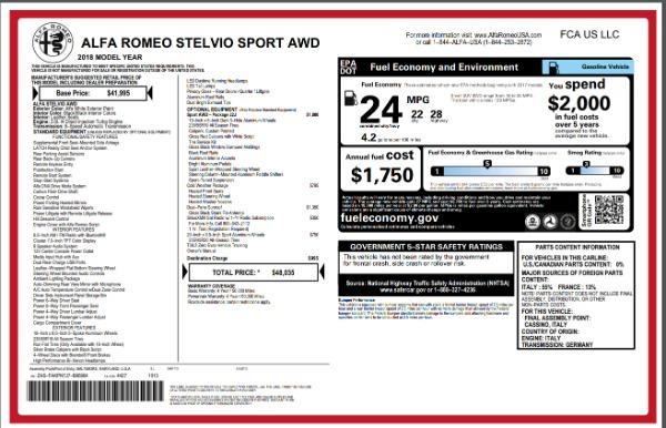 New 2018 Alfa Romeo Stelvio Sport Q4 for sale Sold at Rolls-Royce Motor Cars Greenwich in Greenwich CT 06830 26
