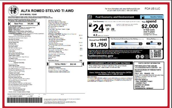 New 2018 Alfa Romeo Stelvio Ti Q4 for sale Sold at Rolls-Royce Motor Cars Greenwich in Greenwich CT 06830 26