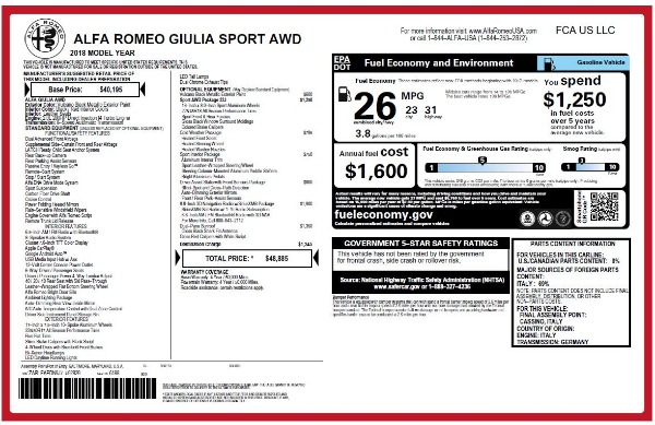 New 2018 Alfa Romeo Giulia Sport Q4 for sale Sold at Rolls-Royce Motor Cars Greenwich in Greenwich CT 06830 20