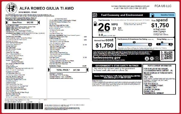 New 2019 Alfa Romeo Giulia Ti Q4 for sale Sold at Rolls-Royce Motor Cars Greenwich in Greenwich CT 06830 2