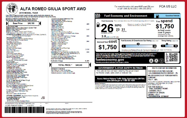 New 2019 Alfa Romeo Giulia Sport Q4 for sale Sold at Rolls-Royce Motor Cars Greenwich in Greenwich CT 06830 24