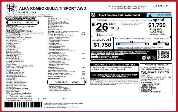 New 2019 Alfa Romeo Giulia Ti Sport Q4 for sale Sold at Rolls-Royce Motor Cars Greenwich in Greenwich CT 06830 18