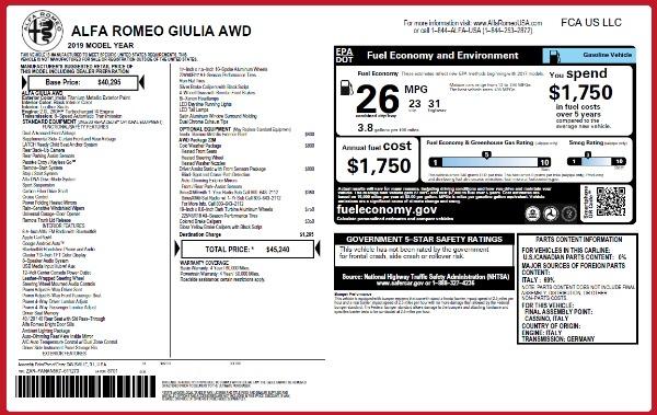 New 2019 Alfa Romeo Giulia Q4 for sale $45,240 at Rolls-Royce Motor Cars Greenwich in Greenwich CT 06830 21