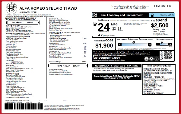 New 2019 Alfa Romeo Stelvio Ti Q4 for sale Sold at Rolls-Royce Motor Cars Greenwich in Greenwich CT 06830 2