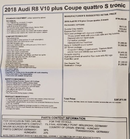 Used 2018 Audi R8 5.2 quattro V10 Plus for sale Sold at Rolls-Royce Motor Cars Greenwich in Greenwich CT 06830 27