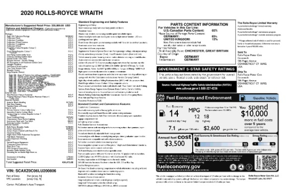 New 2020 Rolls-Royce Wraith Eagle for sale Sold at Rolls-Royce Motor Cars Greenwich in Greenwich CT 06830 8