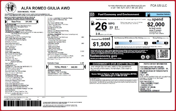 Used 2020 Alfa Romeo Giulia Q4 for sale Sold at Rolls-Royce Motor Cars Greenwich in Greenwich CT 06830 24