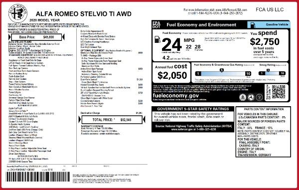 New 2020 Alfa Romeo Stelvio Ti Q4 for sale $52,545 at Rolls-Royce Motor Cars Greenwich in Greenwich CT 06830 2