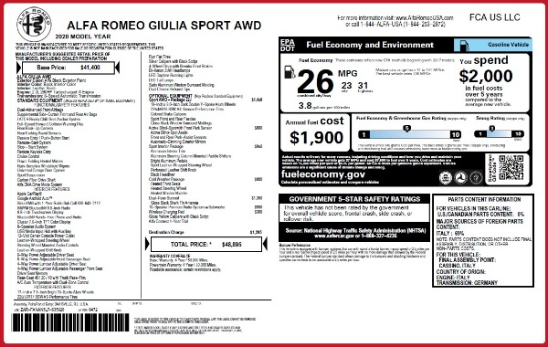 New 2020 Alfa Romeo Giulia Sport Q4 for sale Sold at Rolls-Royce Motor Cars Greenwich in Greenwich CT 06830 23