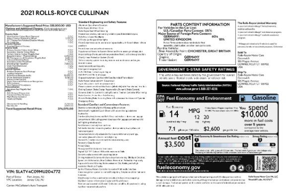 New 2021 Rolls-Royce Cullinan Base for sale $376,075 at Rolls-Royce Motor Cars Greenwich in Greenwich CT 06830 9