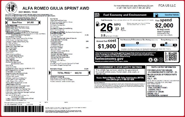New 2021 Alfa Romeo Giulia Q4 for sale $45,735 at Rolls-Royce Motor Cars Greenwich in Greenwich CT 06830 28