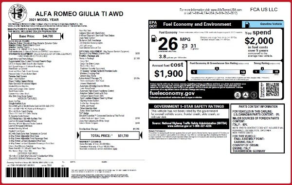 New 2021 Alfa Romeo Giulia Ti Q4 for sale Sold at Rolls-Royce Motor Cars Greenwich in Greenwich CT 06830 27