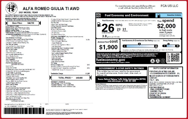 New 2021 Alfa Romeo Giulia Ti Q4 for sale $48,690 at Rolls-Royce Motor Cars Greenwich in Greenwich CT 06830 2