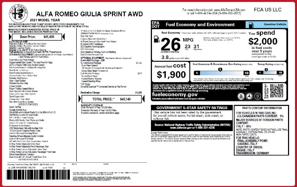 New 2021 Alfa Romeo Giulia Q4 for sale Call for price at Rolls-Royce Motor Cars Greenwich in Greenwich CT 06830 28