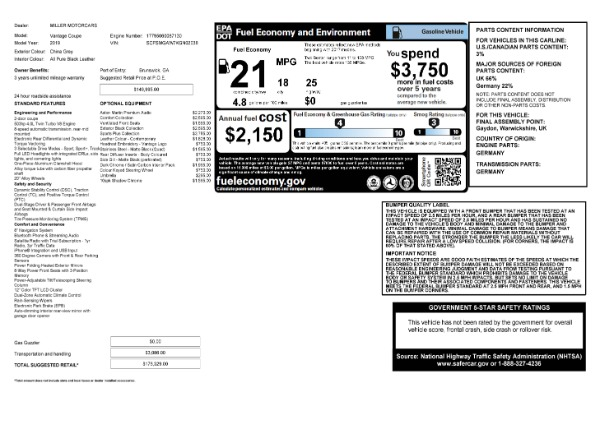 Used 2019 Aston Martin Vantage for sale $129,900 at Rolls-Royce Motor Cars Greenwich in Greenwich CT 06830 23
