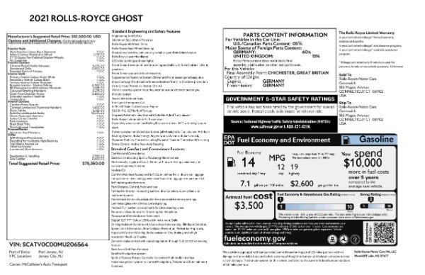 New 2021 Rolls-Royce Ghost for sale $378,350 at Rolls-Royce Motor Cars Greenwich in Greenwich CT 06830 8
