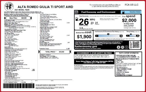 New 2021 Alfa Romeo Giulia Ti Sport Q4 for sale $53,850 at Rolls-Royce Motor Cars Greenwich in Greenwich CT 06830 25