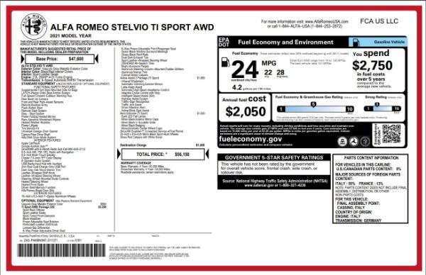 New 2021 Alfa Romeo Stelvio Ti Sport for sale $55,950 at Rolls-Royce Motor Cars Greenwich in Greenwich CT 06830 2