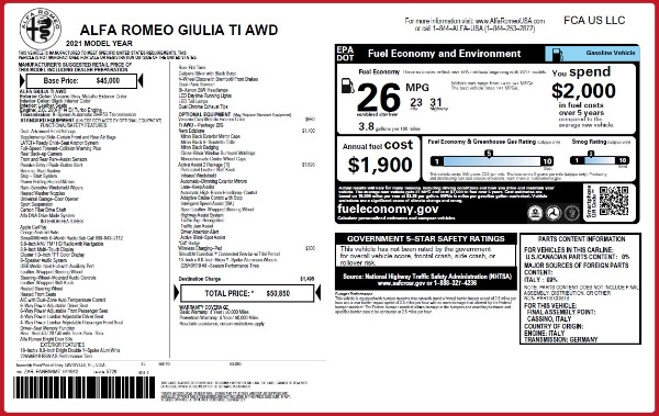 New 2021 Alfa Romeo Giulia Ti Q4 for sale $50,850 at Rolls-Royce Motor Cars Greenwich in Greenwich CT 06830 2