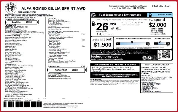 New 2021 Alfa Romeo Giulia Q4 for sale $46,235 at Rolls-Royce Motor Cars Greenwich in Greenwich CT 06830 2