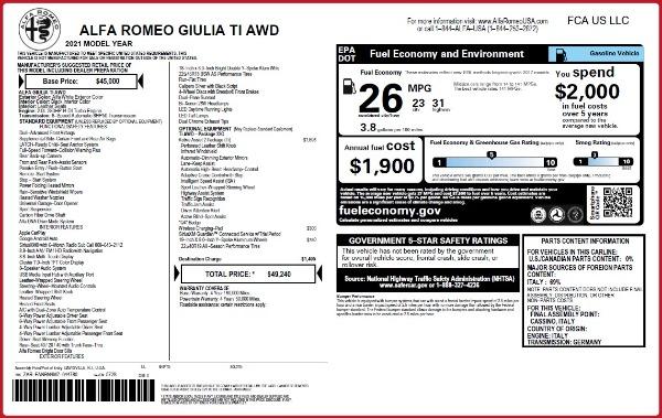 New 2021 Alfa Romeo Giulia Ti Q4 for sale $49,240 at Rolls-Royce Motor Cars Greenwich in Greenwich CT 06830 2