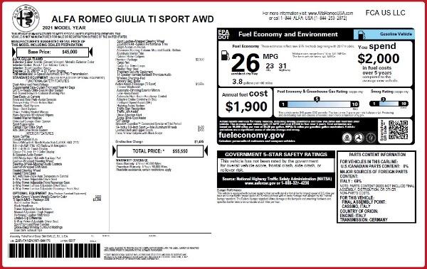 New 2021 Alfa Romeo Giulia Ti Sport Q4 for sale Sold at Rolls-Royce Motor Cars Greenwich in Greenwich CT 06830 2