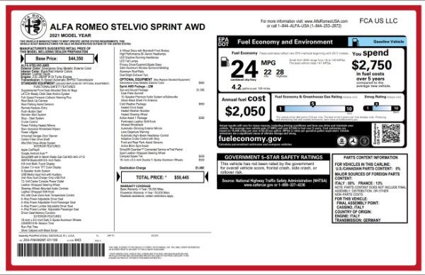 New 2021 Alfa Romeo Stelvio Q4 for sale $49,845 at Rolls-Royce Motor Cars Greenwich in Greenwich CT 06830 2