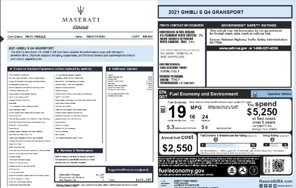 New 2021 Maserati Ghibli S Q4 GranSport for sale $100,285 at Rolls-Royce Motor Cars Greenwich in Greenwich CT 06830 28