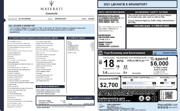 New 2021 Maserati Levante S Q4 GranSport for sale $104,835 at Rolls-Royce Motor Cars Greenwich in Greenwich CT 06830 2