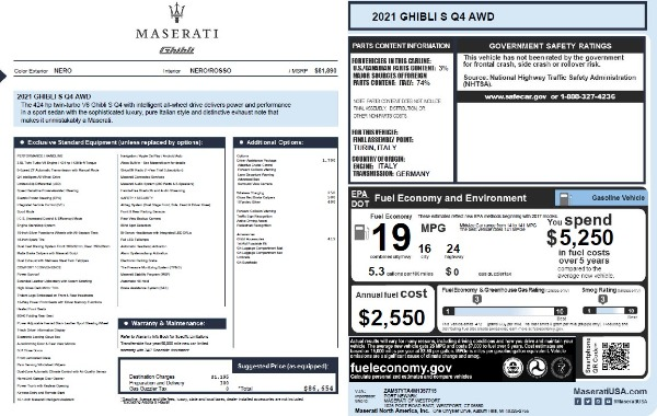 New 2021 Maserati Ghibli S Q4 for sale $86,654 at Rolls-Royce Motor Cars Greenwich in Greenwich CT 06830 27