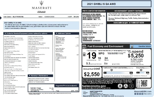 New 2021 Maserati Ghibli S Q4 for sale $86,954 at Rolls-Royce Motor Cars Greenwich in Greenwich CT 06830 28