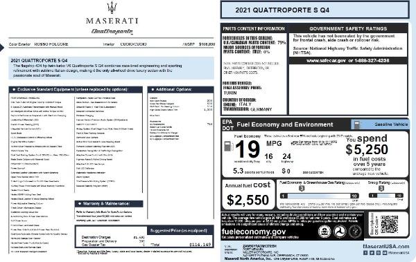 New 2021 Maserati Quattroporte S Q4 for sale $114,149 at Rolls-Royce Motor Cars Greenwich in Greenwich CT 06830 26