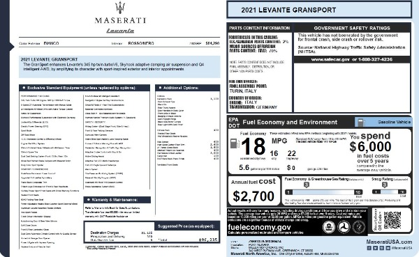 New 2021 Maserati Levante Q4 GranSport for sale $96,235 at Rolls-Royce Motor Cars Greenwich in Greenwich CT 06830 26