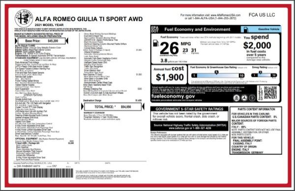 New 2021 Alfa Romeo Giulia Ti Sport for sale $54,050 at Rolls-Royce Motor Cars Greenwich in Greenwich CT 06830 27