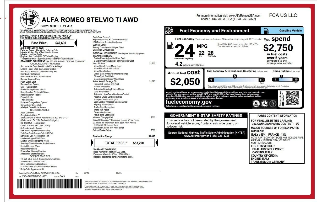 New 2021 Alfa Romeo Stelvio Ti for sale $53,290 at Rolls-Royce Motor Cars Greenwich in Greenwich CT 06830 1