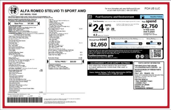 New 2021 Alfa Romeo Stelvio Ti Sport for sale $59,550 at Rolls-Royce Motor Cars Greenwich in Greenwich CT 06830 2