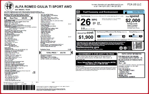New 2021 Alfa Romeo Giulia Ti Sport Q4 for sale Call for price at Rolls-Royce Motor Cars Greenwich in Greenwich CT 06830 26