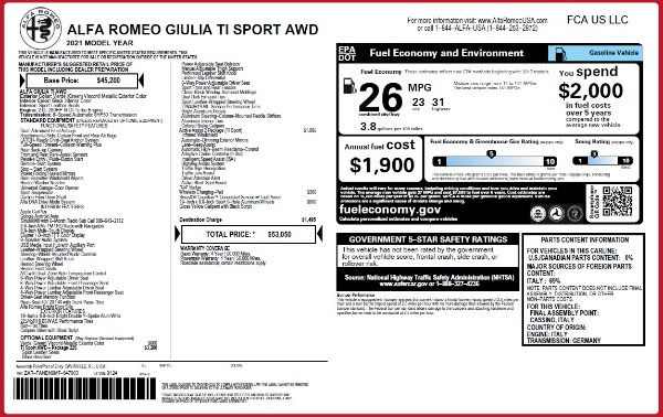 New 2021 Alfa Romeo Giulia Ti Sport Q4 for sale Sold at Rolls-Royce Motor Cars Greenwich in Greenwich CT 06830 27