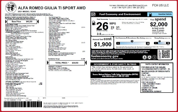 New 2021 Alfa Romeo Giulia Ti Sport Q4 for sale $54,050 at Rolls-Royce Motor Cars Greenwich in Greenwich CT 06830 25
