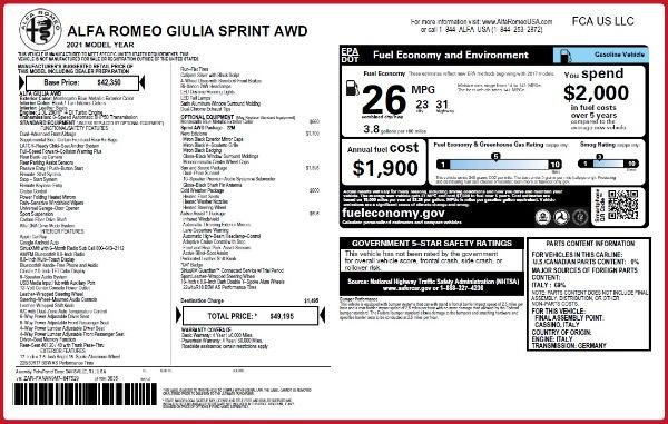 New 2021 Alfa Romeo Giulia Q4 for sale $49,195 at Rolls-Royce Motor Cars Greenwich in Greenwich CT 06830 2