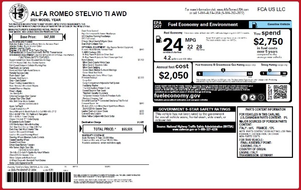 New 2021 Alfa Romeo Stelvio Ti Q4 for sale Sold at Rolls-Royce Motor Cars Greenwich in Greenwich CT 06830 2