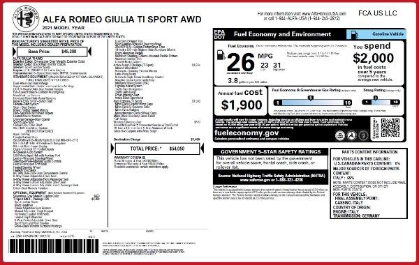 New 2021 Alfa Romeo Giulia Ti Sport Q4 for sale $54,050 at Rolls-Royce Motor Cars Greenwich in Greenwich CT 06830 2