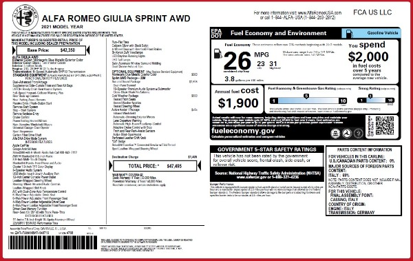 New 2021 Alfa Romeo Giulia Q4 for sale Call for price at Rolls-Royce Motor Cars Greenwich in Greenwich CT 06830 23