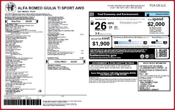 New 2021 Alfa Romeo Giulia Ti Sport Q4 for sale $53,050 at Rolls-Royce Motor Cars Greenwich in Greenwich CT 06830 22