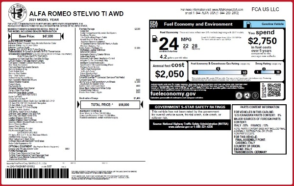 New 2021 Alfa Romeo Stelvio Ti Q4 for sale $56,800 at Rolls-Royce Motor Cars Greenwich in Greenwich CT 06830 2