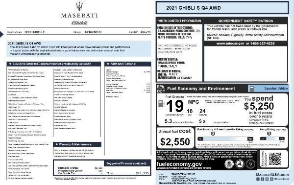 New 2021 Maserati Ghibli S Q4 for sale $89,775 at Rolls-Royce Motor Cars Greenwich in Greenwich CT 06830 2